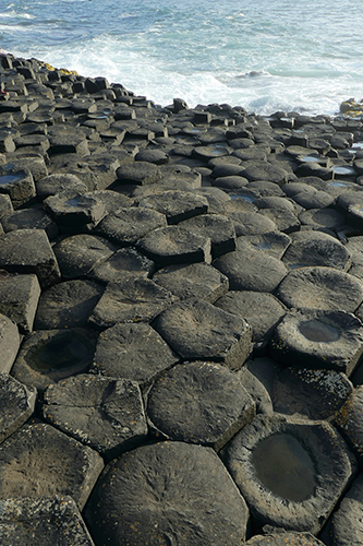 image showing the Giants Causeway country antrim a tourist attraction near the bushmills thatched cottage